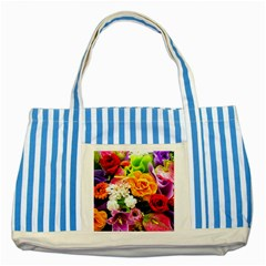 Colorful Flowers Striped Blue Tote Bag