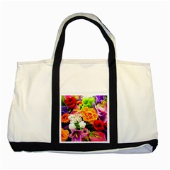 Colorful Flowers Two Tone Tote Bag