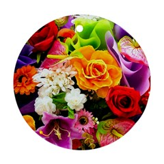 Colorful Flowers Round Ornament (two Sides)