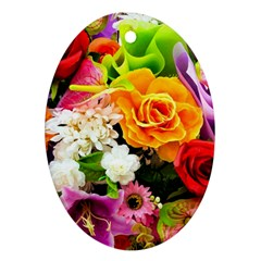 Colorful Flowers Oval Ornament (two Sides)