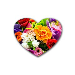 Colorful Flowers Rubber Coaster (heart)