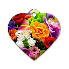 Colorful Flowers Dog Tag Heart (two Sides)