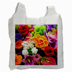 Colorful Flowers Recycle Bag (one Side)