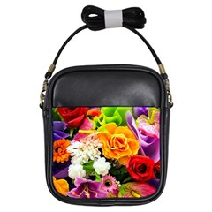 Colorful Flowers Girls Sling Bags