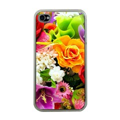 Colorful Flowers Apple Iphone 4 Case (clear)