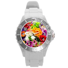 Colorful Flowers Round Plastic Sport Watch (l)