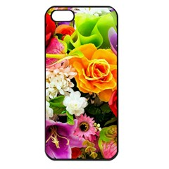 Colorful Flowers Apple Iphone 5 Seamless Case (black)