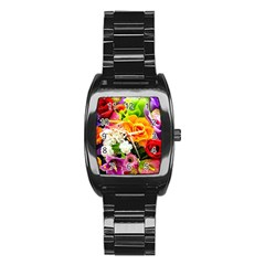 Colorful Flowers Stainless Steel Barrel Watch