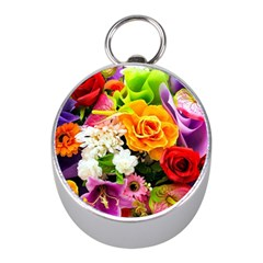 Colorful Flowers Mini Silver Compasses