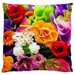 Colorful Flowers Large Flano Cushion Case (one Side)