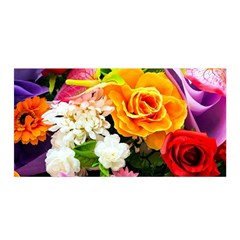 Colorful Flowers Satin Wrap