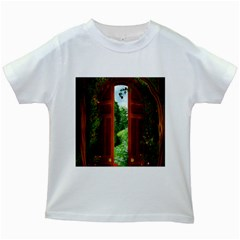 Beautiful World Entry Door Fantasy Kids White T Shirts