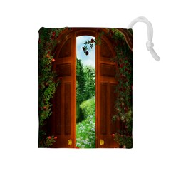 Beautiful World Entry Door Fantasy Drawstring Pouches (large)