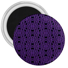 Triangle Knot Purple And Black Fabric 3  Magnets
