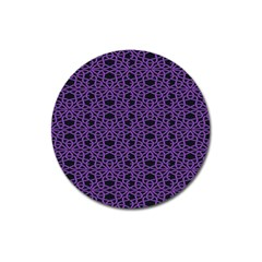 Triangle Knot Purple And Black Fabric Magnet 3  (round)
