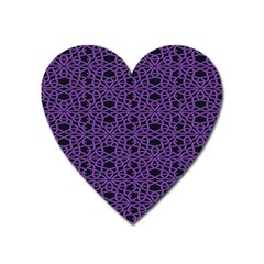 Triangle Knot Purple And Black Fabric Heart Magnet