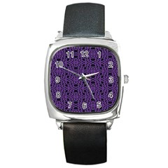 Triangle Knot Purple And Black Fabric Square Metal Watch