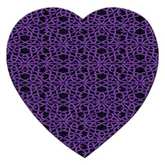 Triangle Knot Purple And Black Fabric Jigsaw Puzzle (heart)