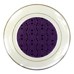 Triangle Knot Purple And Black Fabric Porcelain Plates