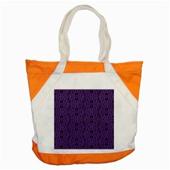 Triangle Knot Purple And Black Fabric Accent Tote Bag