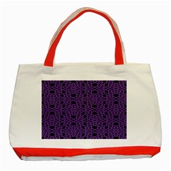 Triangle Knot Purple And Black Fabric Classic Tote Bag (red)