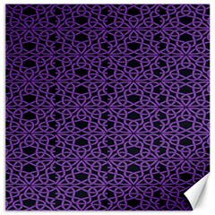 Triangle Knot Purple And Black Fabric Canvas 16  X 16