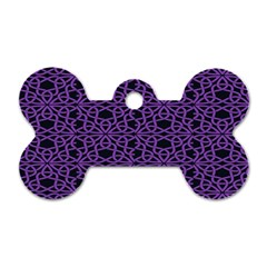 Triangle Knot Purple And Black Fabric Dog Tag Bone (two Sides)