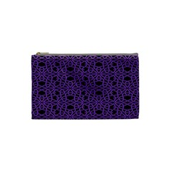 Triangle Knot Purple And Black Fabric Cosmetic Bag (small)