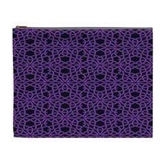 Triangle Knot Purple And Black Fabric Cosmetic Bag (xl)