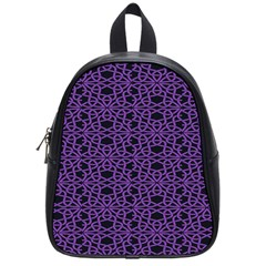 Triangle Knot Purple And Black Fabric School Bags (small)
