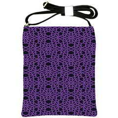 Triangle Knot Purple And Black Fabric Shoulder Sling Bags