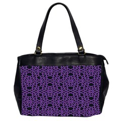 Triangle Knot Purple And Black Fabric Office Handbags (2 Sides)