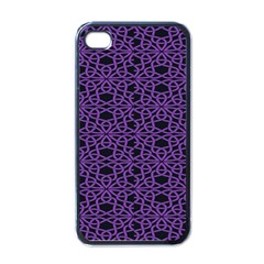 Triangle Knot Purple And Black Fabric Apple Iphone 4 Case (black)