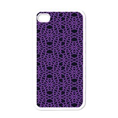 Triangle Knot Purple And Black Fabric Apple Iphone 4 Case (white)