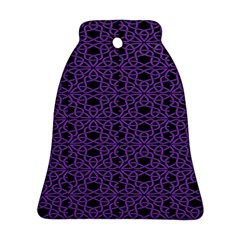 Triangle Knot Purple And Black Fabric Ornament (bell)