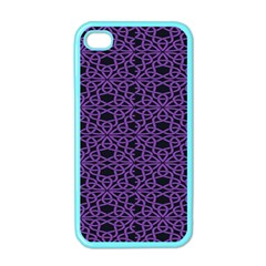 Triangle Knot Purple And Black Fabric Apple Iphone 4 Case (color)