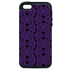 Triangle Knot Purple And Black Fabric Apple Iphone 5 Hardshell Case (pc+silicone)