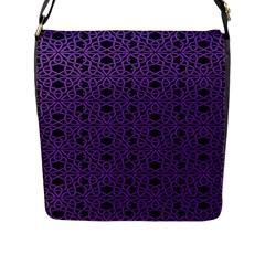Triangle Knot Purple And Black Fabric Flap Messenger Bag (l)