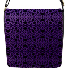 Triangle Knot Purple And Black Fabric Flap Messenger Bag (s)