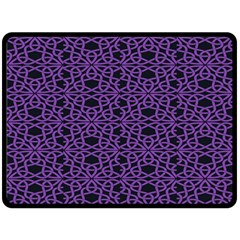 Triangle Knot Purple And Black Fabric Double Sided Fleece Blanket (large)