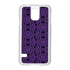 Triangle Knot Purple And Black Fabric Samsung Galaxy S5 Case (white)