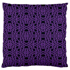 Triangle Knot Purple And Black Fabric Large Flano Cushion Case (one Side)