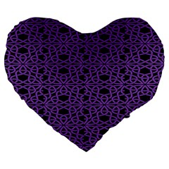 Triangle Knot Purple And Black Fabric Large 19  Premium Flano Heart Shape Cushions