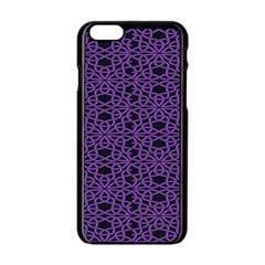 Triangle Knot Purple And Black Fabric Apple Iphone 6/6s Black Enamel Case