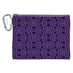 Triangle Knot Purple And Black Fabric Canvas Cosmetic Bag (xxl)