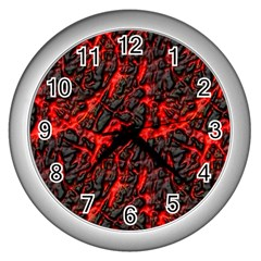 Volcanic Textures  Wall Clocks (silver)