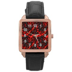 Volcanic Textures  Rose Gold Leather Watch