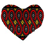 Toraja Traditional Art Pattern Large 19  Premium Heart Shape Cushions Front