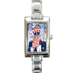 Independence Day United States Of America Rectangle Italian Charm Watch