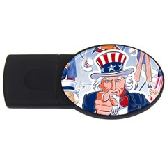 Independence Day United States Of America Usb Flash Drive Oval (4 Gb)